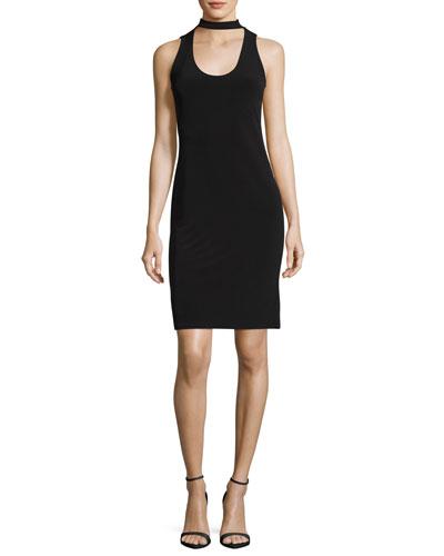Scoop-Neck Velvet Cocktail Dress W/ Choker, Black