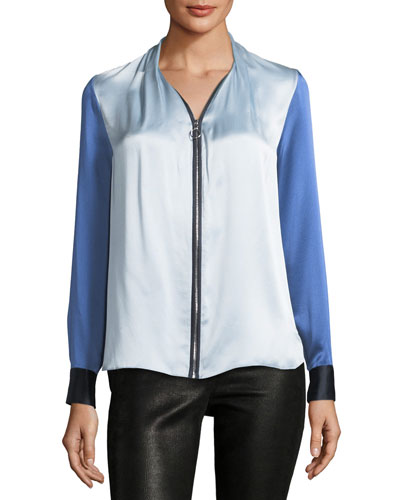 Rosalina Zip-Front Colorblocked Silk Blouse