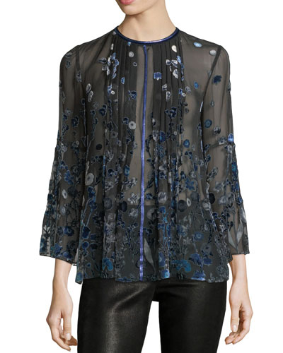 Orion Sheer Bell-Sleeve Floral Blouse