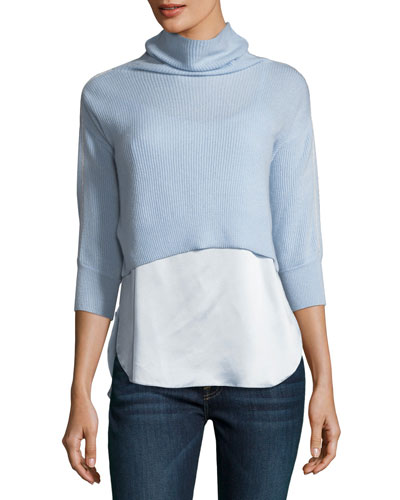 Claudetta Cashmere & Silk Combo Sweater