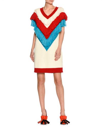 V-Neck Sleeveless Fringe Sweater Dress, White Pattern
