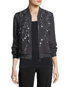Brandy Embellished Silk Bomber Jacket