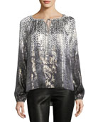 Mariella Long-Sleeve Metallic Silk-Blend Blouse