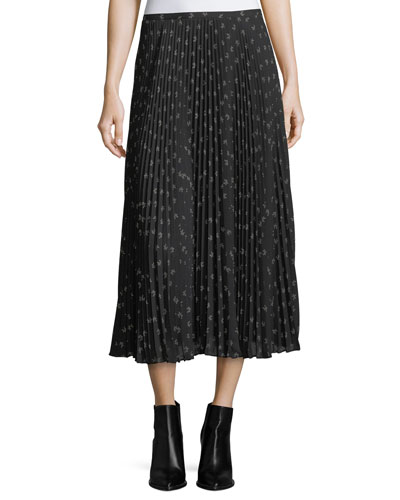 Vince Ditsy - floral Pleated Maxi Skirt
