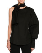 Tie-Neck One-Arm Poplin Top, Black