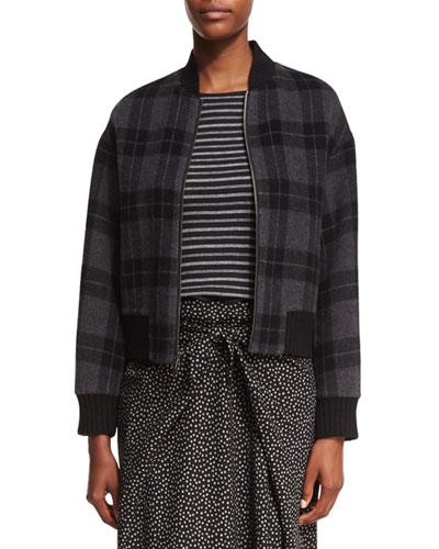 Tonal Plaid Wool-Knit Bomber Jacket