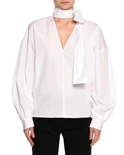 Poplin Long-Sleeve Tie-Neck Blouse, White