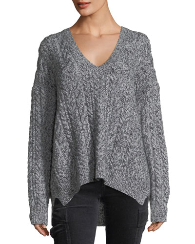 Oversized Cable-Knit V-Neck Sweater