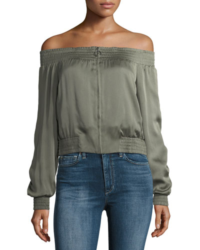 Marco Off-the-Shoulder Zip-Front Satin Top