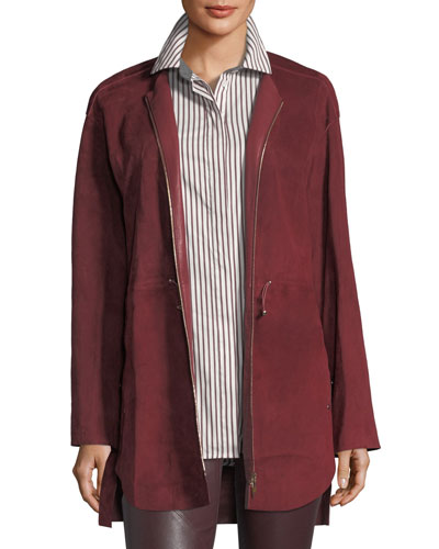Linea Zip-Front Suede Jacket
