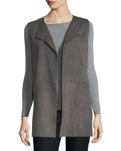 Tamma Suede Vest w/ Embroidered Cutout Detail