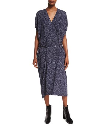 Celestial Polka-Dot Kimono Wrap Dress