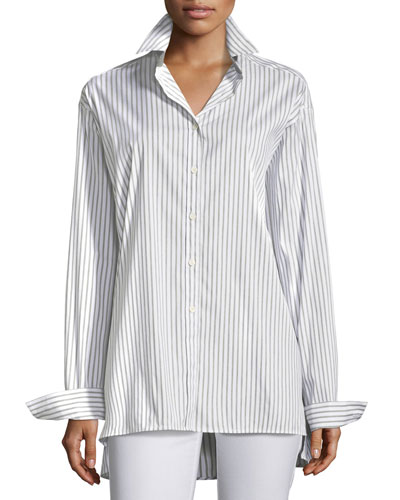 Supreme Stripe Jessie Button-Front Blouse