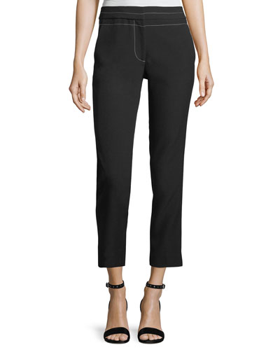 Phillip Cropped Straight-Leg Pants w/ Topstitching