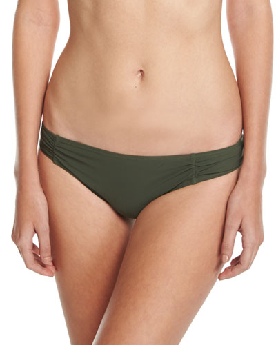 Side-Shirred Bikini Bottom, Green