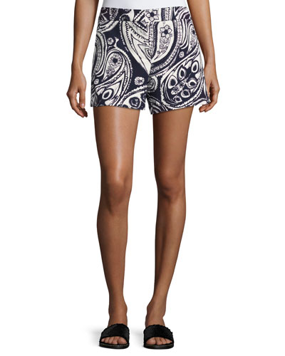 Columbus Avenue Paisley-Print Cotton Shorts