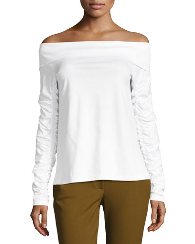 Mercerized Knit Off-the-Shoulder T-Shirt