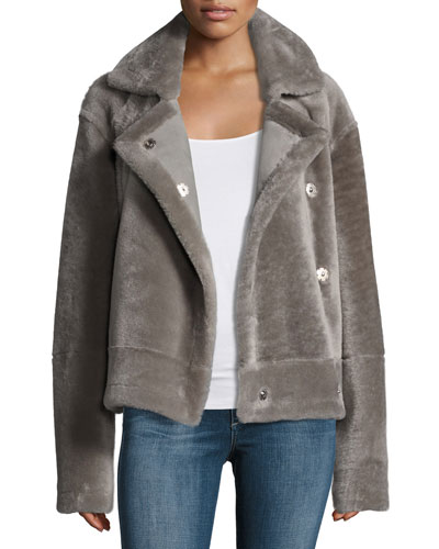 Shearling Snap-Front Aviator Jacket