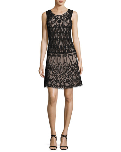 Sleeveless Soutache-Trim A-Line Cocktail Dress, Black/Nude