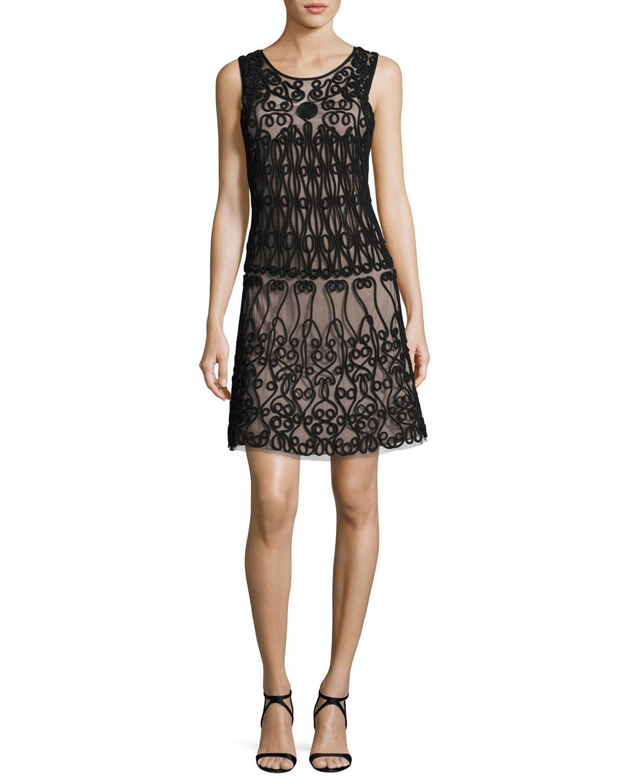 Sleeveless Soutache-Trim A-Line Cocktail Dress, Black/Nude