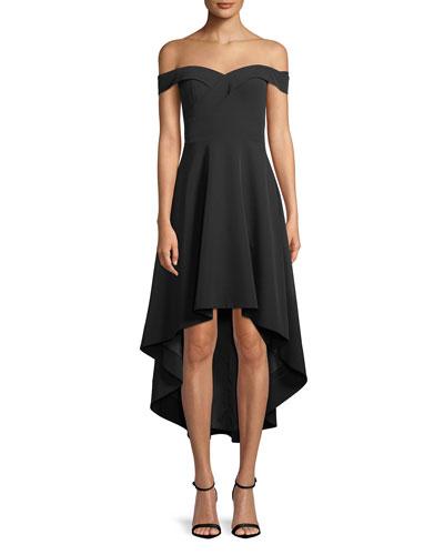 Off-the-Shoulder High-Low Crepe Cocktail Dress