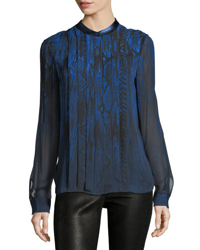 Terri Long-Sleeve Pleated Snakeskin-Print Silk Blouse