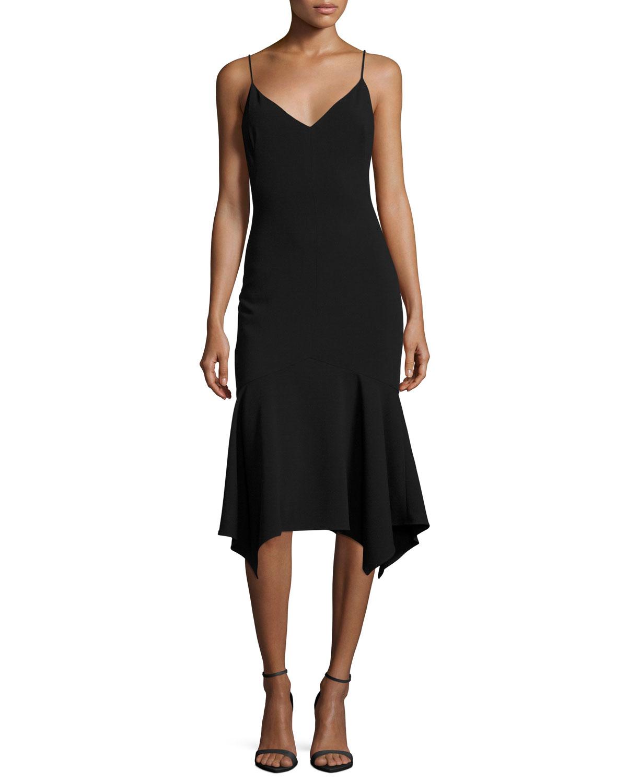 Malik Handkerchief-Hem Cocktail Slip Dress, Black