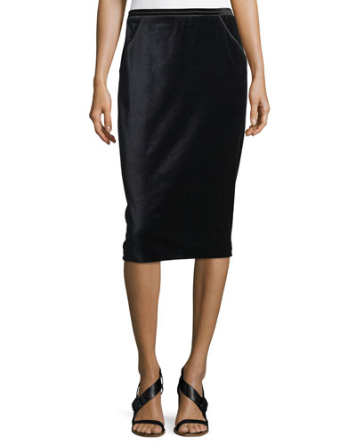 Harla Satin-Trimmed Velvet Pencil Skirt