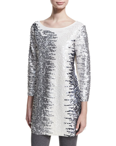 Sequined Boat-Neck 3/4 Sleeve Tunic