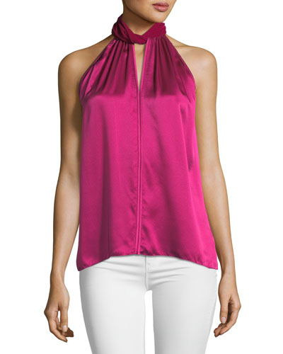 Elastia Sleeveless Velvet-Trim High-Neck Silk Blouse