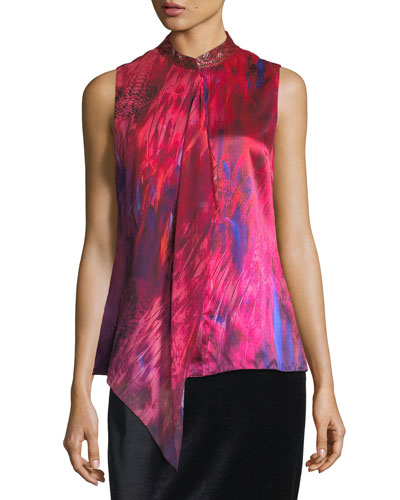Faya Sleeveless Silk Blouse w/ Leather Collar