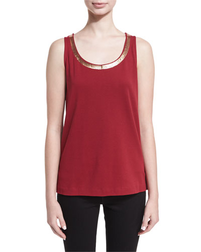 Scoop-Neck Sequin Trim Tank, Petite