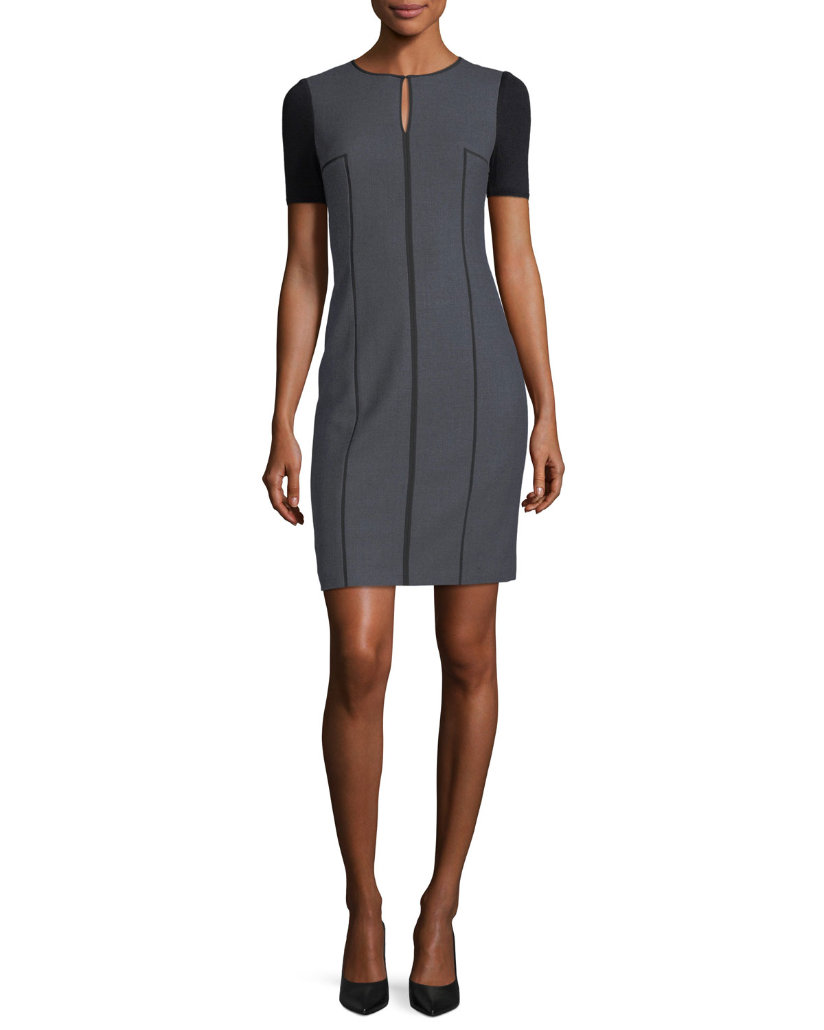 Salandra Short-Sleeve Piped Sheath Dress