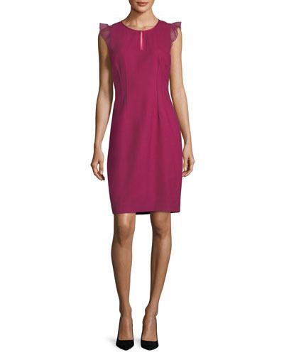 Deloria Short Chiffon Flutter-Sleeve Dress