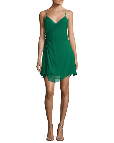 Leroux V-Neck Chiffon Mini Dress, Green