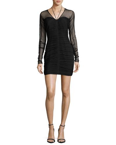 Grant Ruched Mini Dress, Black
