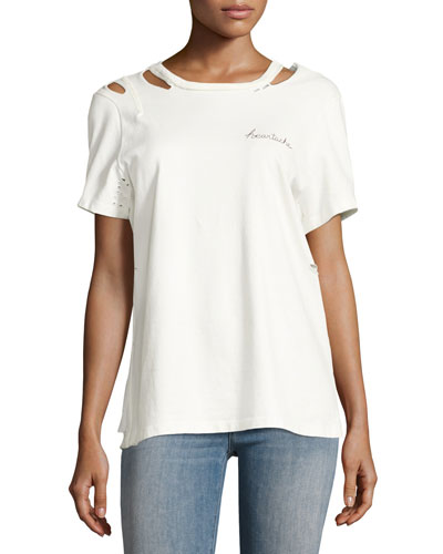 Bretta Short-Sleeve Cutout Tee, White