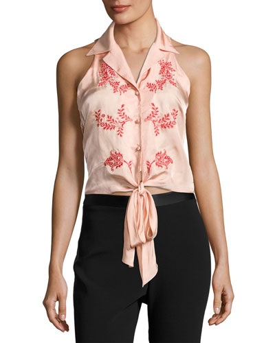 Lola Sleeveless Tie-Front Top