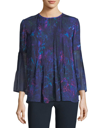 Orion 3/4-Sleeve Floral-Print Silk Blouse