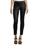 Roxanna Skinny Leather Pants, Black