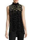 Murray Sleeveless Mock-Neck Crushed Velvet Top
