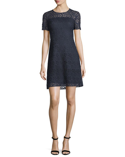 Ophelia Short-Sleeve Starry Lace Dress