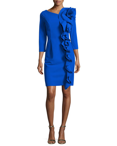 3/4-Sleeve Scuba Dress w/ Sculptural Side Ruffle