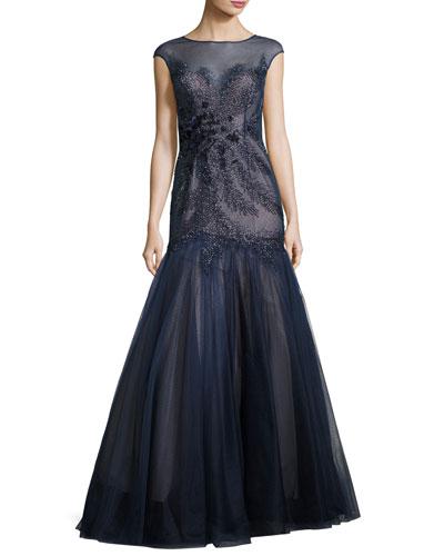 Cap-Sleeve Beaded Floral Mermaid Gown