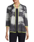 Notch-Collar Bold Border Jacket, Plus Size
