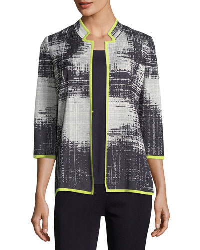 Notch-Collar Bold Border Jacket