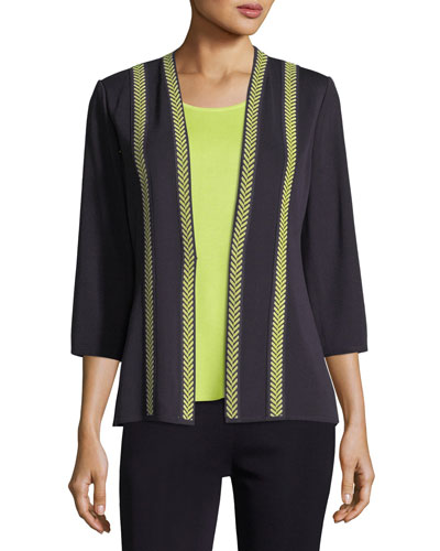 Herringbone Contrast-Trim Jacket