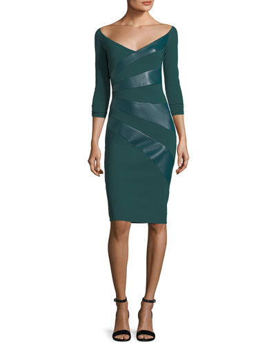 Kaliska V-Neck Cocktail Dress w/ Faux Leather Panels