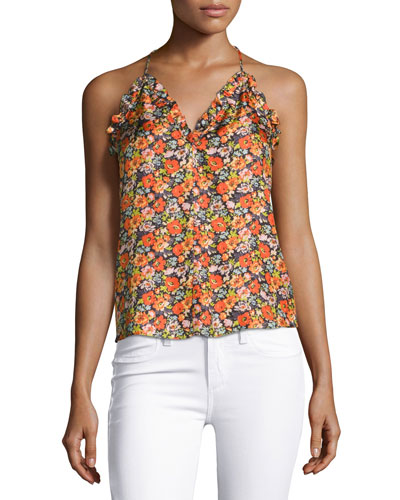 Moonlight Floral-Print Sleeveless Tank Top, Orange Multi