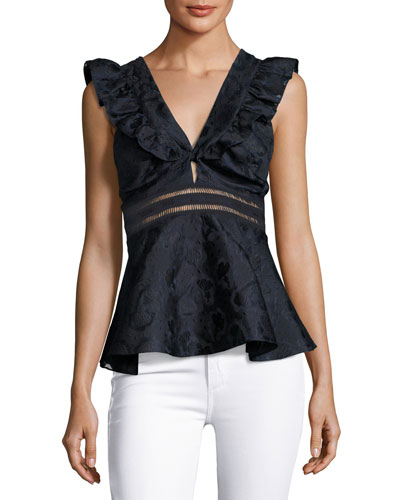 Sleeveless Ruffled V-Neck Blouse, Blue Multi